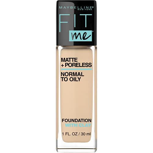 Maybelline Fit Me Matte + Poreless Liquid Foundation Makeup, Light Beige, 1 fl. oz. Oil-Free Foundation
