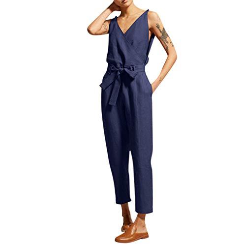 Yuwegr Damen Jumpsuit Plus Size Leinen Schlank Ärmellose V-Neck Overall Sommer Casual Lange Hose Playsuit Romper 3 Farbe S-5XL(Blau,XXXL)