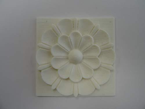 Dekorative Applikation, quadratische Fliesen, Blumen, Kunstharz, Möbelzierleiste, Nr41 8 cm x 8 cm x 7 mm