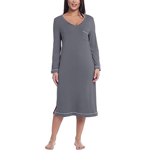 Pyjama Damen Nachthemd Schlafanzug Damen Soft Bamboo Langarm Langarm Nachthemd Nachthemd Nachthemd Schlafkleid M Grau