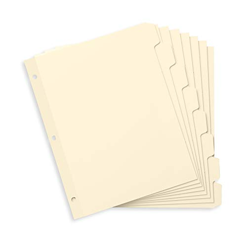 Blue Summit Supplies 3 Ring Binder Dividers with Reinforced Edge, 1/8 Cut Tabs, Letter Size, 3 Hole Punch Section Index Dividers for Binders, Manila, 96 Pack