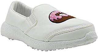 KazarMax Boys & Girls (Unisex) White PU with Doughnut and Shake Embroidery Sneakers