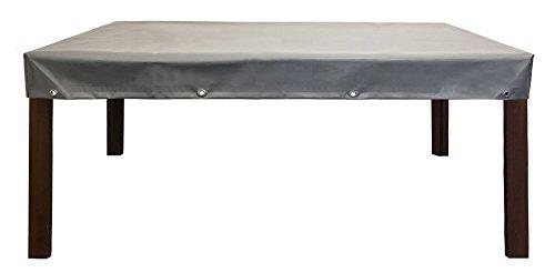 Abdeckplane | Abdeckhaube für Gartentisch/Gartenmöbel | Premium Schutzhülle aus LKW Plane (650gr./Alugrau) | absolut Winterfest und wasserdicht | 160x90x15