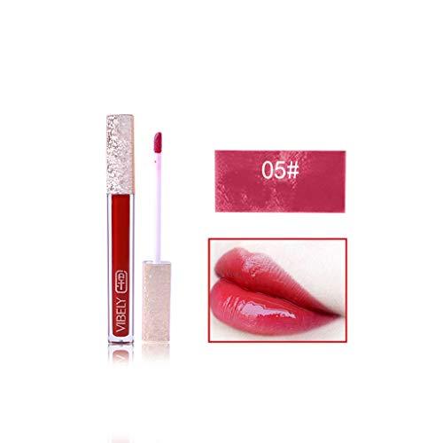 Rouge à Lèvres Bio Femme, Mate Coffret, sans Transfert,Vibely Miroir Sexy Liquide LèVre Brillant Longue Durable ImperméAble Garder 24