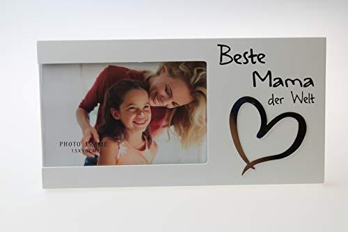 Kamaca Bilderrahmen Fotorahmen aus Holz und Glas für Ihren Lieblingsmensch für Fotos 15x10 cm (Beste Mama der Welt)