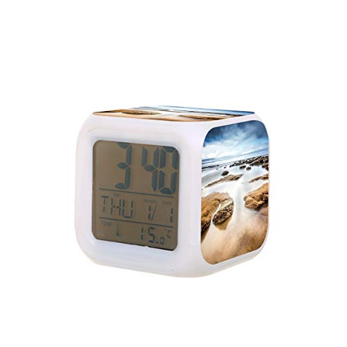 Seascape Tide Landscape Sea Water Reloj despertador eléctrico Luz de noche Temporizador de sueño Máquina de sonido Detectar temperatura con 7 colores de luces