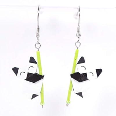 Boucles d'oreilles pandas contents en origamis - crochets inox