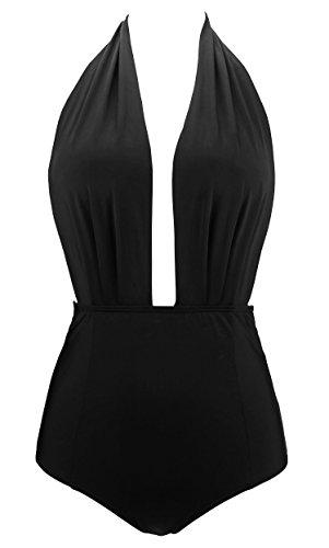 COCOSHIP Classic Black Retro One Piece Backless Bather Swimsuit High Waisted Pin Up Solids Swimwear Beachwear XL(US10)