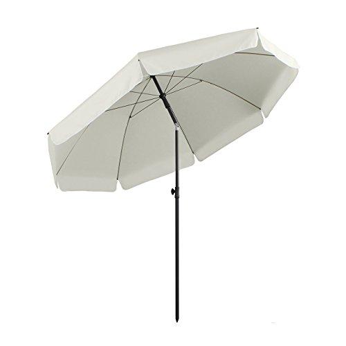 Sekey® Sonnenschirm 240 cm Marktschirm Gartenschirm Terrassenschirm Creme Rund Sonnenschutz UV25+