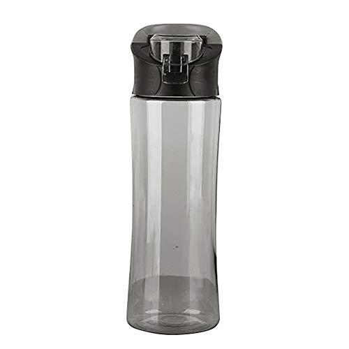 LUYANhapy9 Botella de Agua Deportiva, 600 ml, plástico Transparente de Gran Capacidad, a Prueba de Fugas, portátil, con Tapa abatible, Botella de Agua para Deportes al Aire Libre, Negro