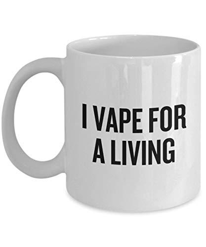Lplpol Weiße Tasse mit lustigem Vaping-Geschenk – Vaping-Kaffeetasse – E – Zigaretten-Fans – Geschenk – I Vape for a Living einzigartiges Festival-Geburtstagsgeschenk 313 ml