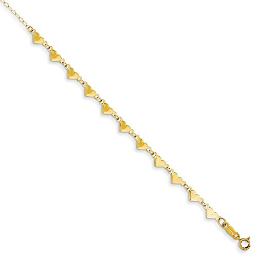 14ct Geel Goud Gepolijst Lente Ring Ovale Link Ketting Met Hartjes Met 1in Ext Anklet - 23 Centimeters