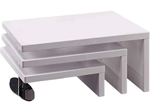Habitat et Jardin - Table Basse Design Elysa - 80 x 59 x 37,5 cm - Blanc laqué