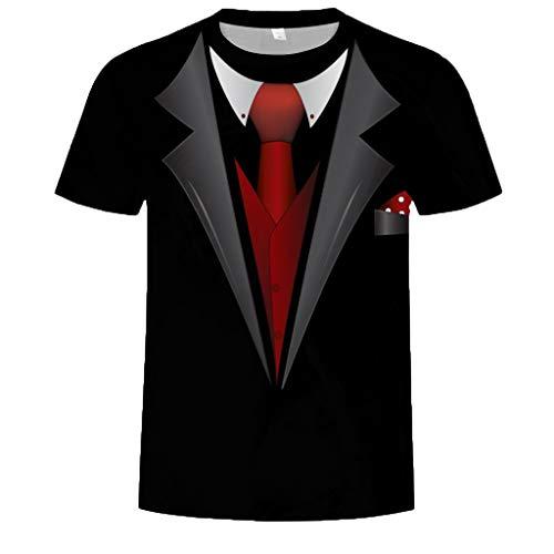 Kiasebu Heren Jurk Shirts Tuxedo Shirts afdrukken Patroon T-Shirt Korte Mouwen Tops Persoonlijkheid T-Shirts voor Mannen