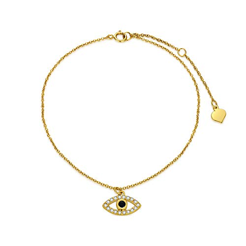 SISGEM 9 ct Gold Evil Eye Bracelet, Solid Gold Evil Eye Charm Link Bracelet with Dark Blue Gemstone, for Womem Ladies Mum Girl, 6.5+1+1inch
