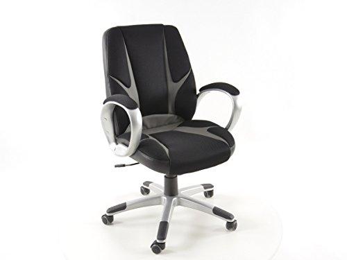 FK-Automotive FK sportstoel bureaustoel Oakland zwart/grijs managersstoel draaistoel bureaustoel FKRSE14001