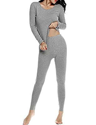Ekouaer Thermal Sets Womens 2 Pcs Underwear Slimming Top & Bottom Pajama,Small,Gray 2