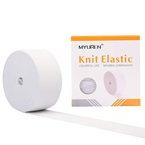MYUREN 2 Inch by 10 Yard White Heavy Stretch High Elasticity Elastic Spool Knit Elastic Bands for Sewing