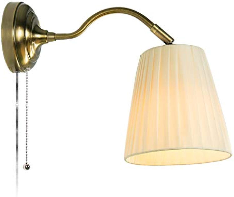 LZY Wandlampe- Stoff Wandleuchte Schlafzimmer einfach warm Wohnzimmer Gang kreative Wandleuchte (Farbe   Creme farben-37x18cm)