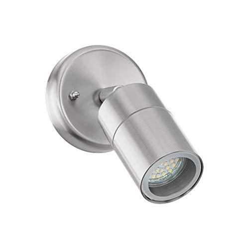 EGLO LED Außen-Wandlampe Robledo, 1 flammige Außenleuchte, Wandspot aus Edelstahl und Glas, Farbe: Silber, Fassung: GU10, IP44