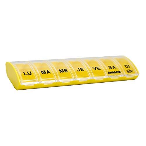 Pastillero con 7 compartimentos de color amarillo