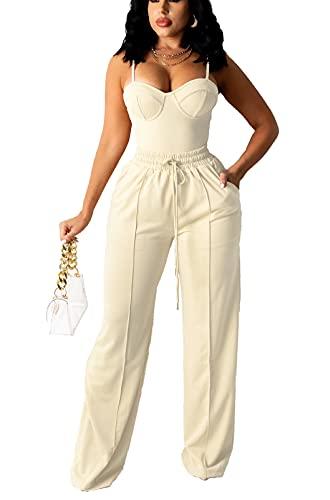 bluewolfsea Women Sexy 2 Piece Outfits Jumpsuit Summer Sleeveless Cami Crop Top Wide Leg Long Pants Set X-Large Apricot