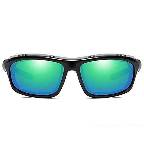 MGWA Gafas de sol para bicicleta escalada, material de policarbonato brillante, UV400, montura negra, lentes gris/verde, hombres y mujeres con las mis...