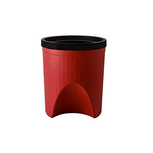 XVXFZEG Trash Can, Mode Kunststoff bruchsicheren Abfalleimer Mülleimer, Covered for Badezimmer, Küchen, Home Offices, Dorms, Kinder Zimmer Leicht Altpapier Trash Can 12L (Color : Rot)