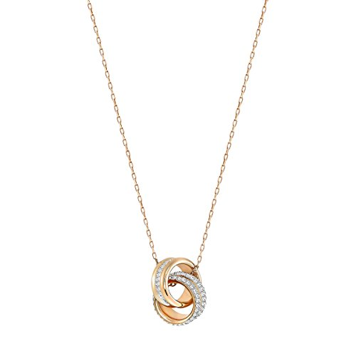 Swarovski Women's Further Necklace, Stunning Dual Ring Design with Crystals and Rose-gold Tone Plated Chain, from the Swarovski Further Collection