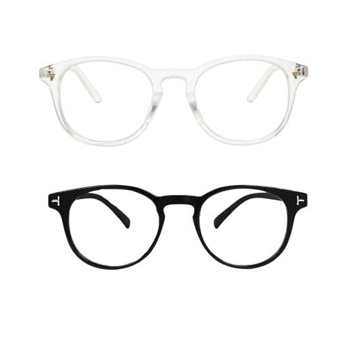 Fancy-Creation Premium UV400 Protected Round Anti Glare Reading Glasses Zero Power Computer Glasses For Men & Women