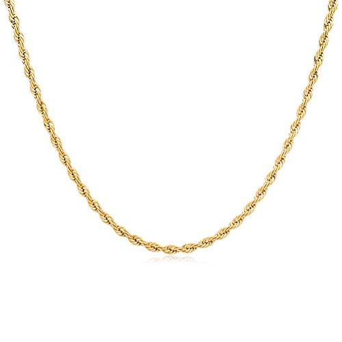 OULII mannen touw ketting halsketting mode punk stijl sieraden (goud)