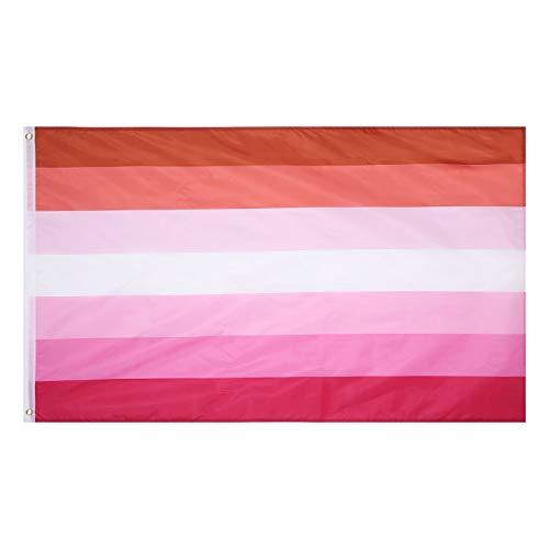 Amosfun Regenbogen Lesbische Flagge Leichte Lebendige Farbe Große Fahne Gay Pride Flaggen für Indoor Outdoor-Bewegung