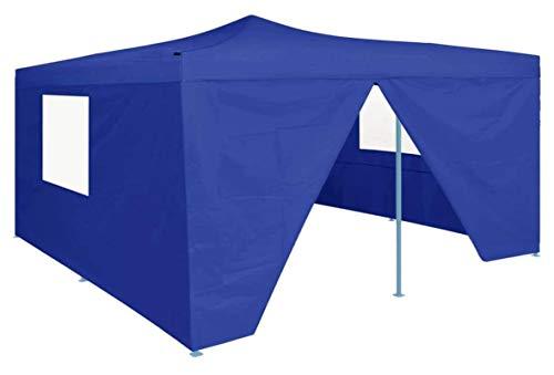 ZHENG Gazebo Plegable Carpas Plegables con 4 Walls Sidewalls Marquee Carpa Marco de Acero a Prueba de Acero Tienda de Bodas, 5x5 m Azul (Color : Blue)