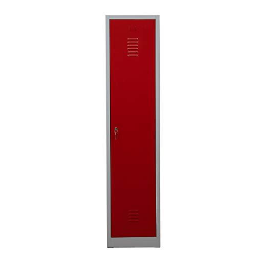 Certeo Garderobenspind | HxBxT 1800 x 415 x 500 mm | Zylinderschloss | Grau-Rot | Garderobenspind Umkleidespind Spind Schrank Abschließbar