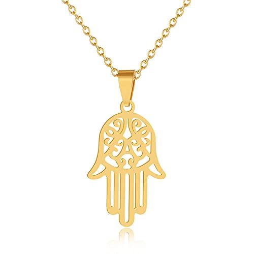 Collar con colgante de mano árabe Soy Luna Hamsa para mujeres / hombres Amuleto de acero inoxidable Gargantilla de Fátima de mano Regalo de joyería árabe - Gold_50_cm