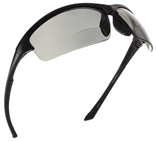 Fiore La Jolla Bifocal Polarized Reading Sunglasses TR90 Readers for Men and Women [Black, 2.50]