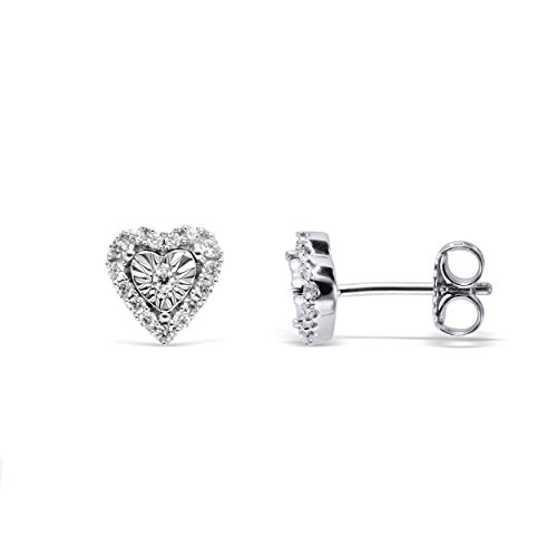 10K White Gold Diamond Heart Shaped Halo Stud Earrings (1/5 cttw, I Color, I2 Clarity)