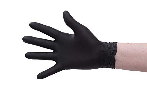 Nitril-Handschuhe 100 Stück in Spender-Box - puderfrei, Nicht steril, beidseitig tragbar - Schwarz (M)