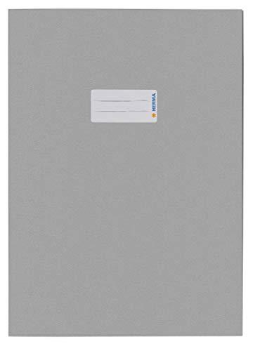 HERMA 5528 Papier Heftumschlag DIN A4, Hefthülle mit Beschriftungsfeld, aus kräftigem Recycling Altpapier und satten Farben, Heftschoner für Schulhefte, grau