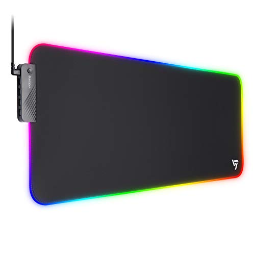 VictSing Large RGB Gaming Mouse Pad with 4 USB Ports &16 Lighting Modes & 3 Brightness, Extra Extended Soft LED Mousepad Computer Keyboard Mouse Mat with Anti-Slip Rubber Base & Stitched Edge