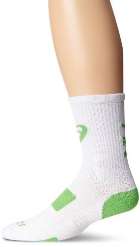 ASICS Team Tiger Crew Socken, Jungen Damen Mädchen Herren, Weiß/Neongrün, X-Large