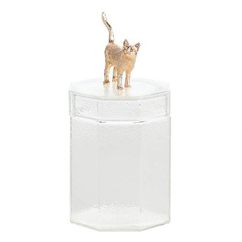 SLHP Barattolo da cucina, con coperchio decorato con statuetta di animale 3D, per servire tè, caffè, spezie, caramelle, ecc., in vetro Gatto d'oro.