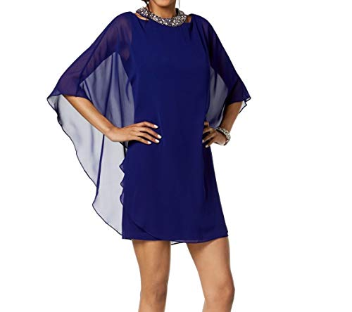 Xscape Embellished Chiffon-Overlay Dress Electric Blue Size 10