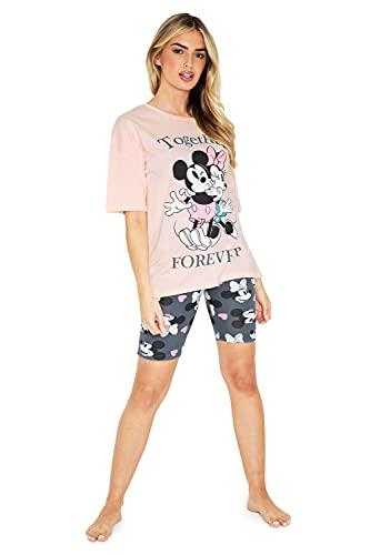 Disney Pijamas Mujer Verano, Pijama Mujer De Manga Corta con Mickey Y Minnie Mouse, Ropa Mujer De Algodón XS-2XL (Rosa, S)