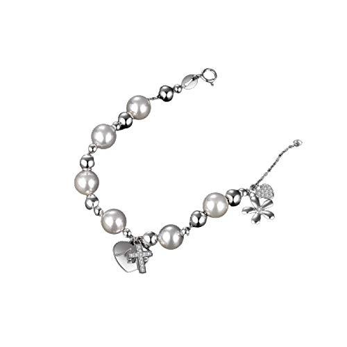 Pulsera de imitacin de Shell perla ngel flor Cruz brazalete pulsera de plata esterlina 925 pulsera para la fabricacin de joyas de beb