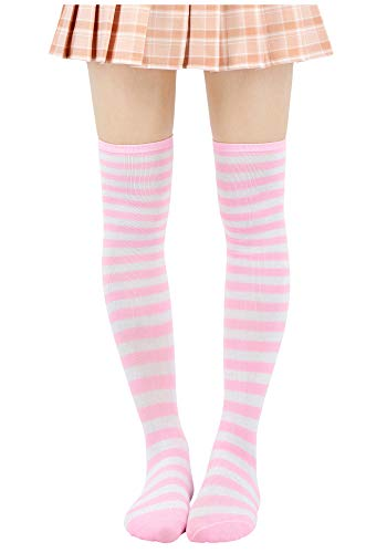 DAZCOS Striped Stockings Over Knee Thigh High Socks Anime Preppy Socks Multi color (Pink+White)