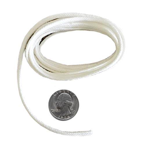 Firefly USA Brand - 5 Feet of 2.6mm Braided Eco Cotton Replacement Wick for Oil Lamps and Candles for Round Wick Holders