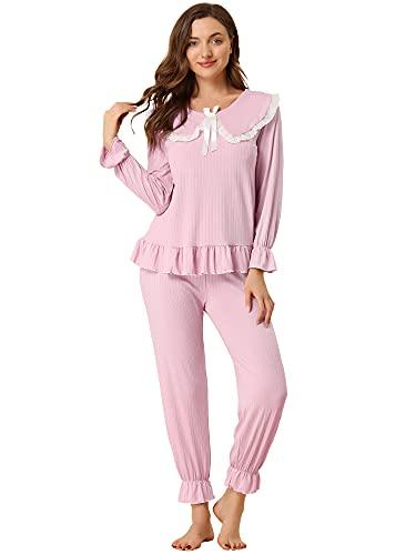 Allegra K Conjuntos de Pijama para Mujer Cuello Peter Pan con Almohadillas para el Pecho Conjuntos de salón de Manga Larga Rosa S