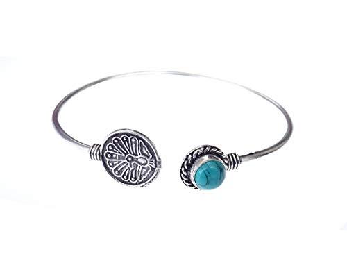 India Jewel Store Pulsera de Brazalete de Moda Ajustable con Piedras Preciosas Azules turquesas auténticas Hechas a Mano para Mujer Pulsera de Pavo Real Moderna de Moda única chapada en Plata 925