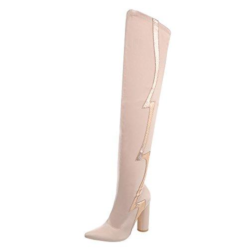 Ital Design Overknees Damen-Schuhe Overknees Pump High Heels Reißverschluss Stiefel Beige Rosa, Gr 38, Jr-010-